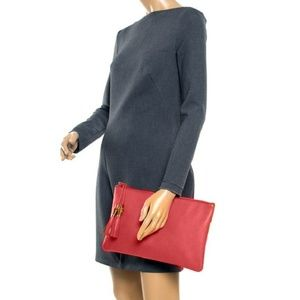 Gucci New Large Red Leather Bamboo Tassel Clutch
